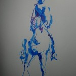 Blue ink horse drawn with a banana dipped in ink