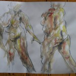 Two nudes in ink and graphite
