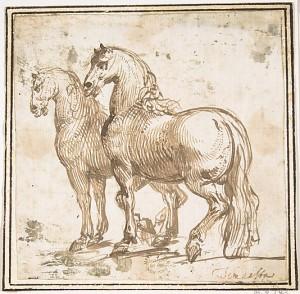 Two Horses attributed to Francesco Allegrini