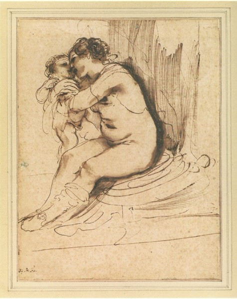 Guercino_nude_woman_seated_embracing_child