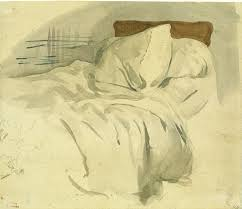Delacroix_An_unmade_bed_Watercolour_over_graphite_on_laid_paper_20.6x24.1cm