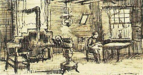 Van_Gogh_Interior_with_woman_sewing_1885