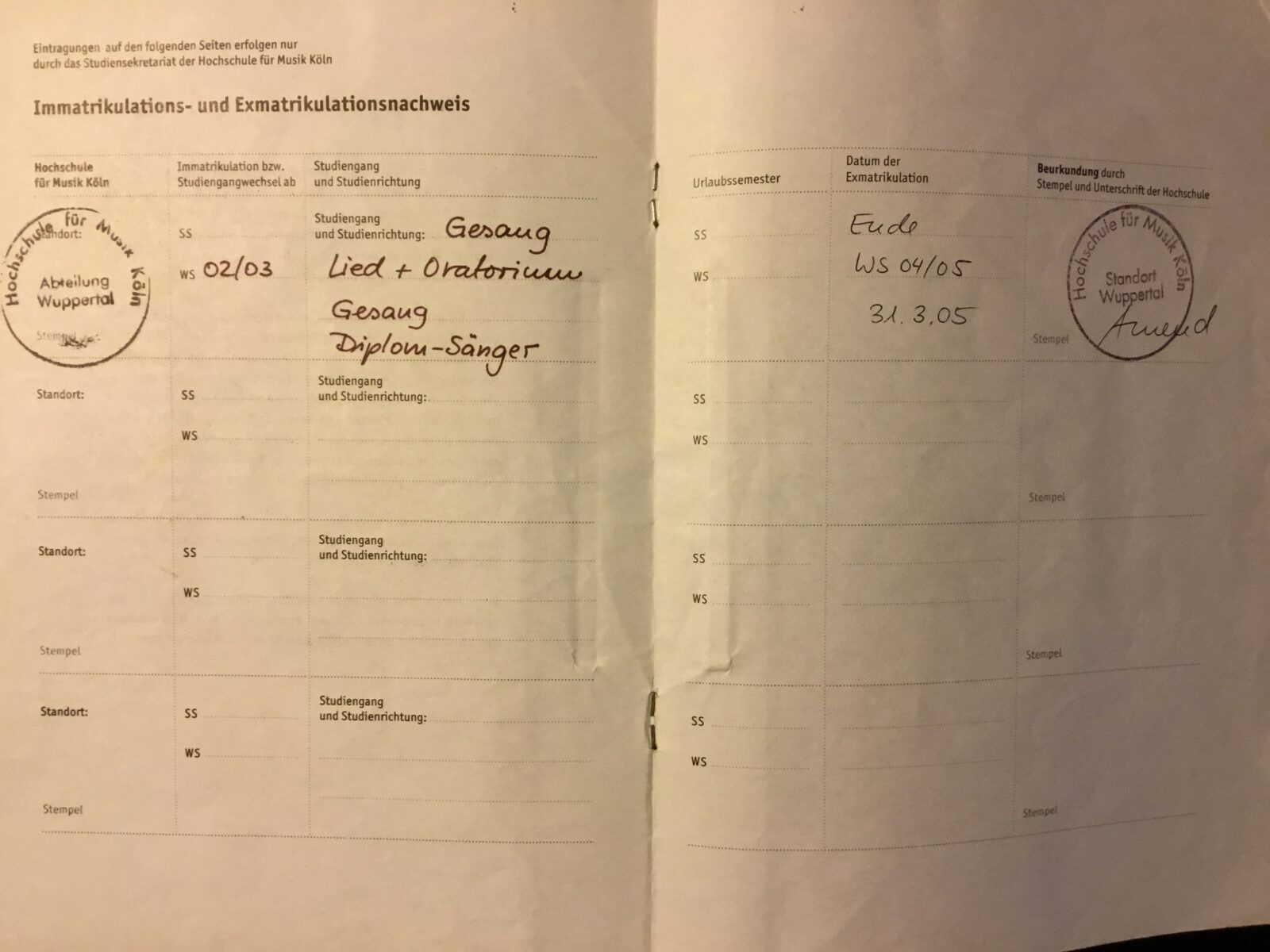 Proof of study on 2.5 years of a 5 year course in singing (Grundstudium)