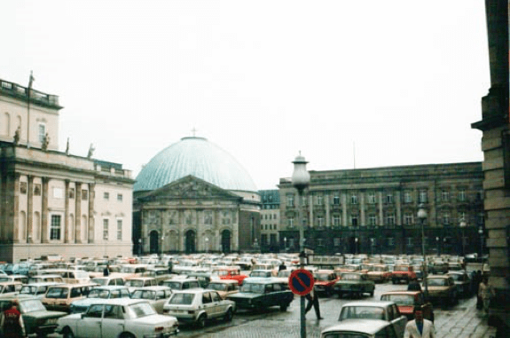 Trabbis and Ladas Outside the Roman Catholic Cathedral 1988