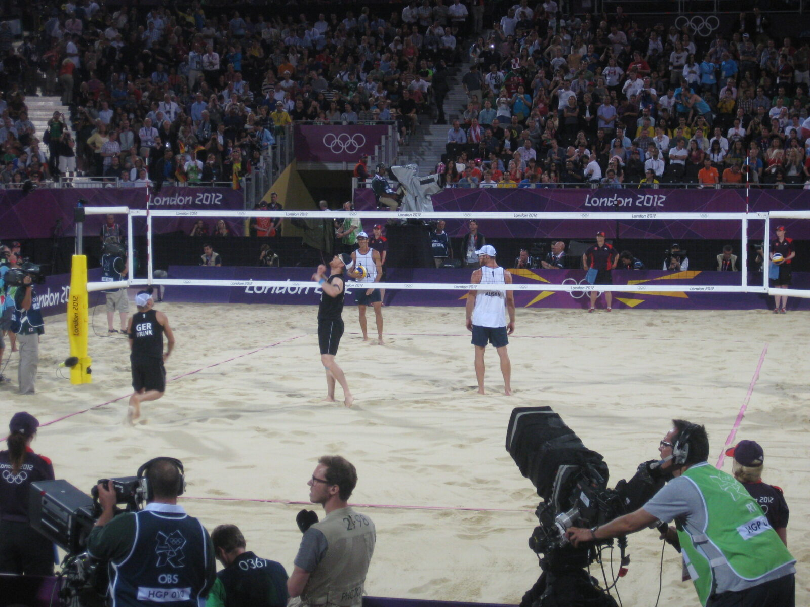 London (2012) Beach Volleyball Final at Horse Guards Parade: Germany vs Brazil.