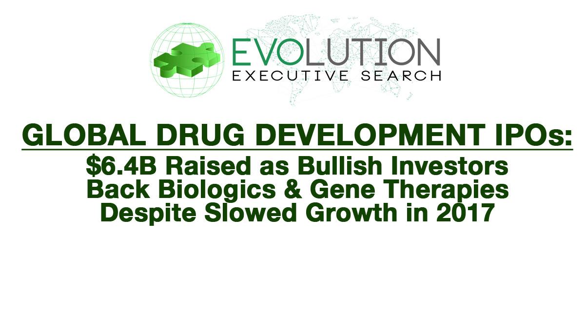 GLOBAL DRUG DEVELOPMENT IPOs: $6.4B Raised as Bullish Investors Back Biologics & Gene Therapies Despite Slowed Growth in 2017