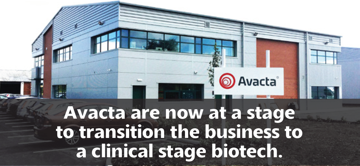 Avacta are now at a stage to transition the business to a clinical stage biotech