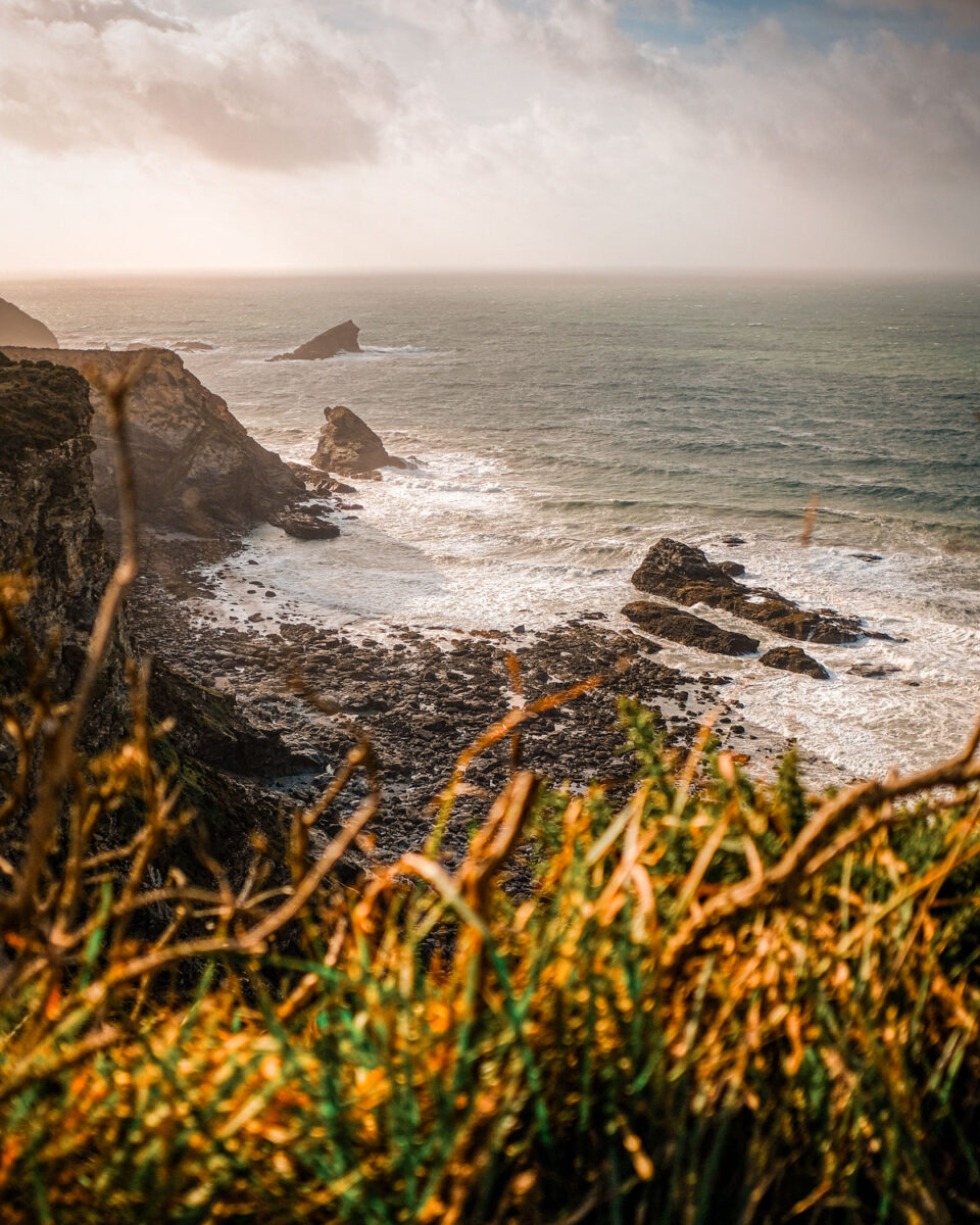 The rugged north Cornish coast at Portreath.