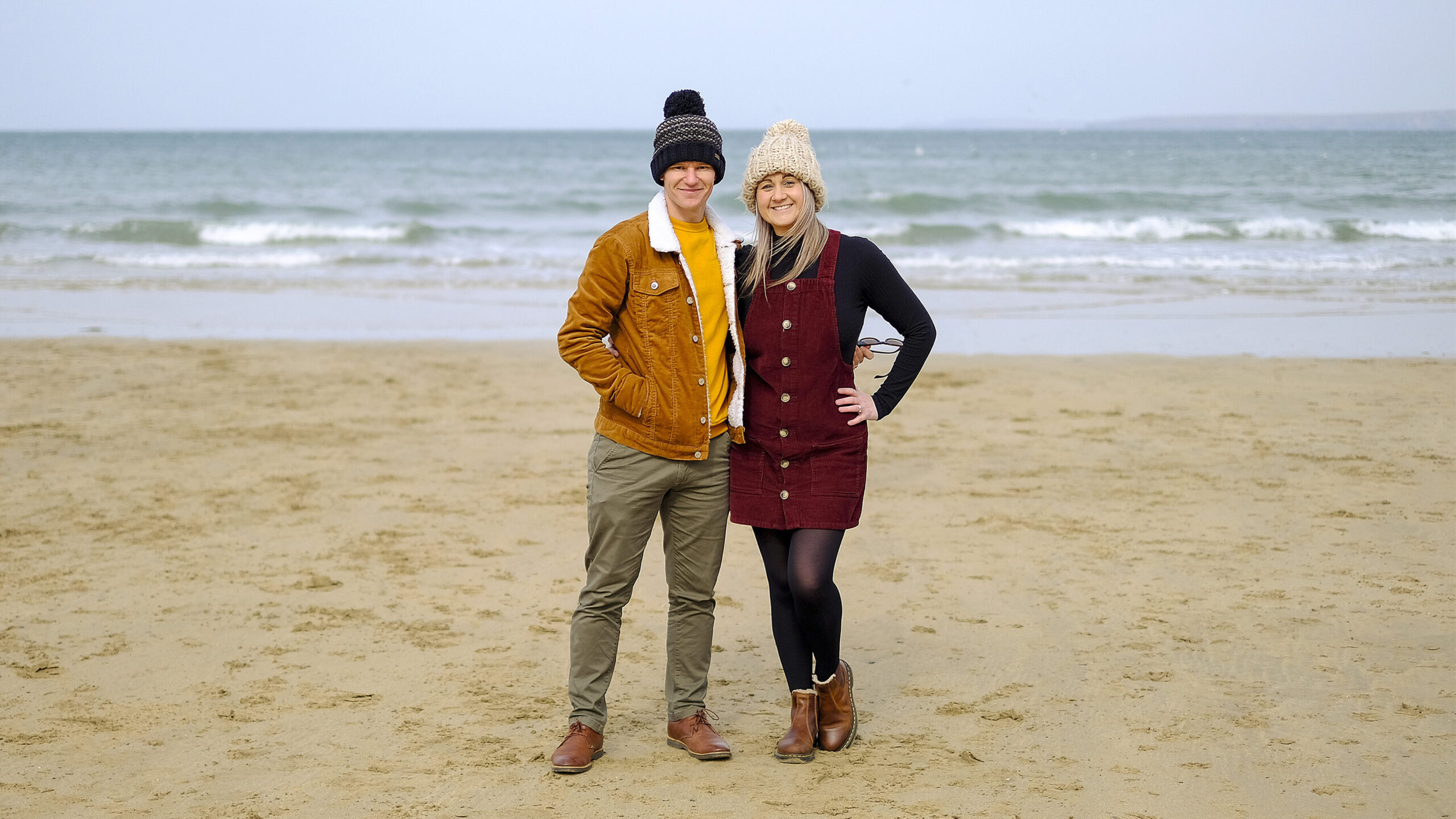 Joel (left) and Stacey (right) on Newquay Beach.
