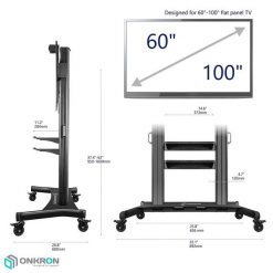 ONKRON Heavyduty Mobile TV Stand TV mount TS2811-blk