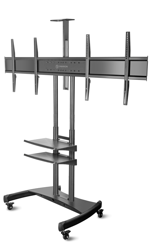 """ONKRON Mobile TV Stand Dual TV Cart with Wheels for 40"""" – 65 Inch TS3881"""