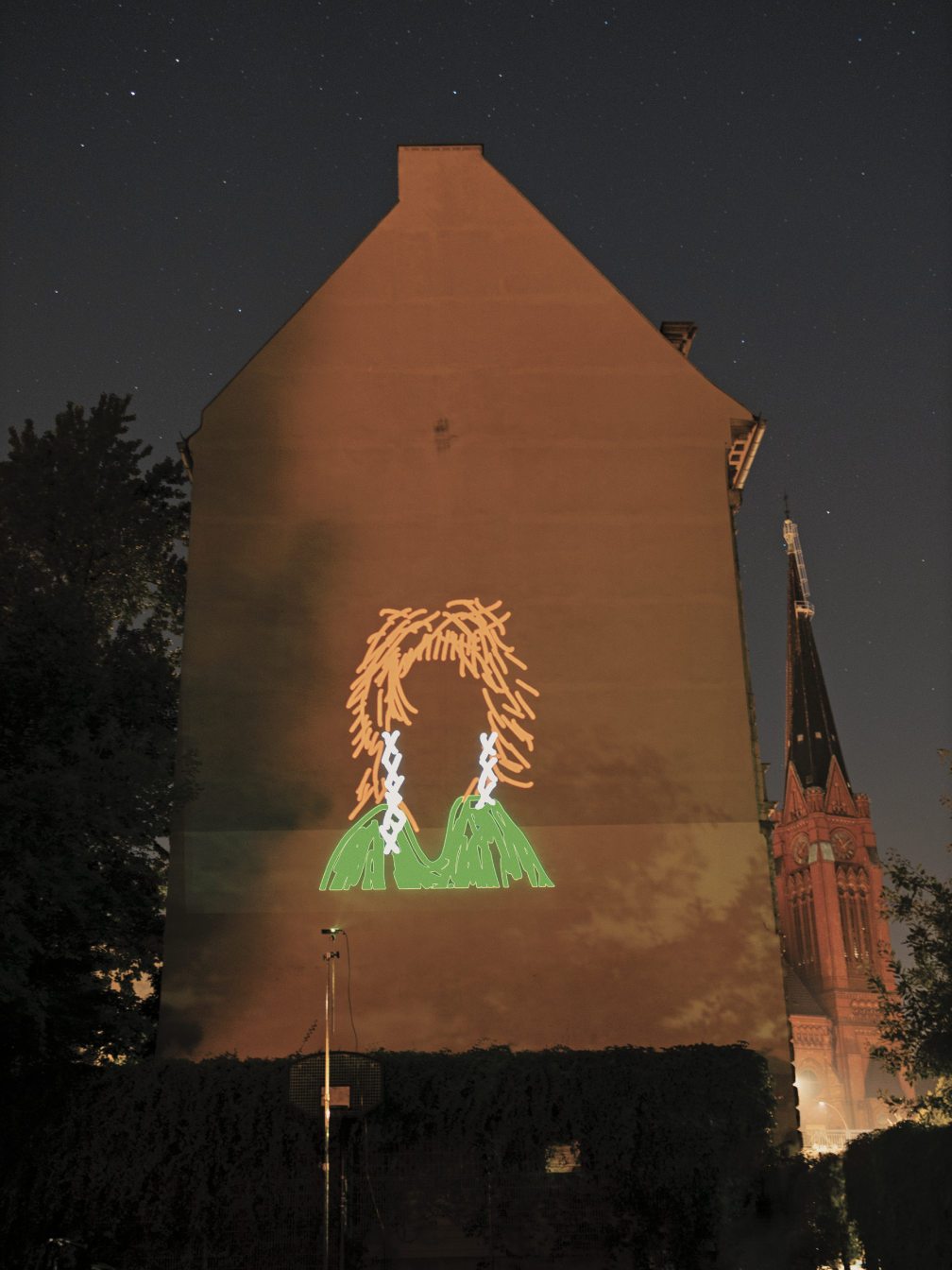 drawing projected on building