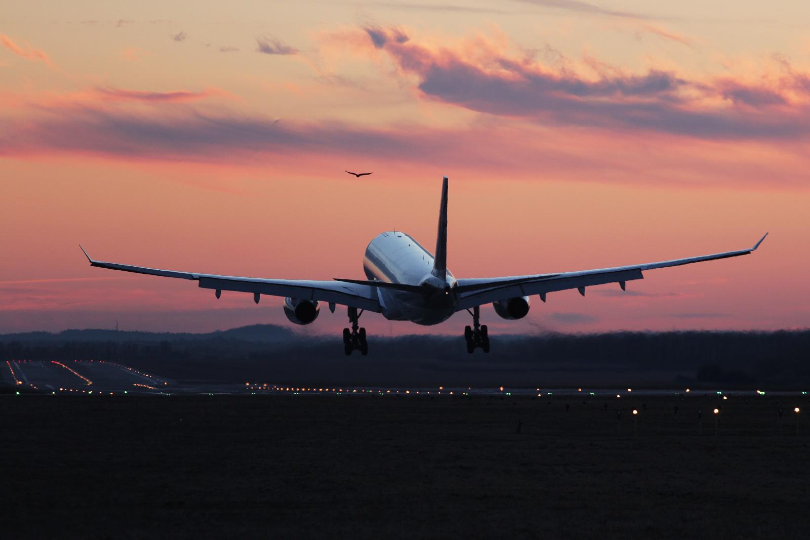 qatar airbus a330 landing sunset