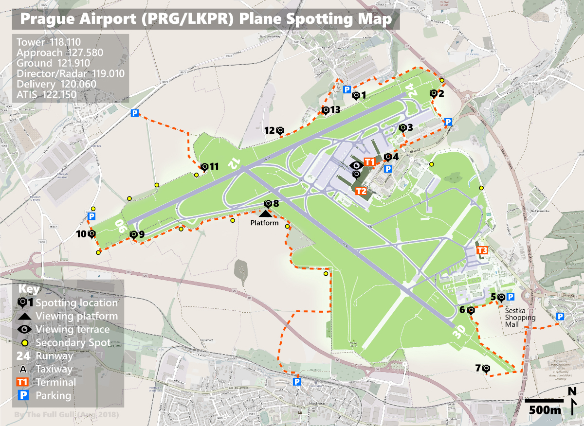 prague airport plane spotting map