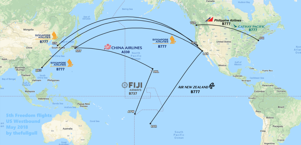 map fifth freedom flights us