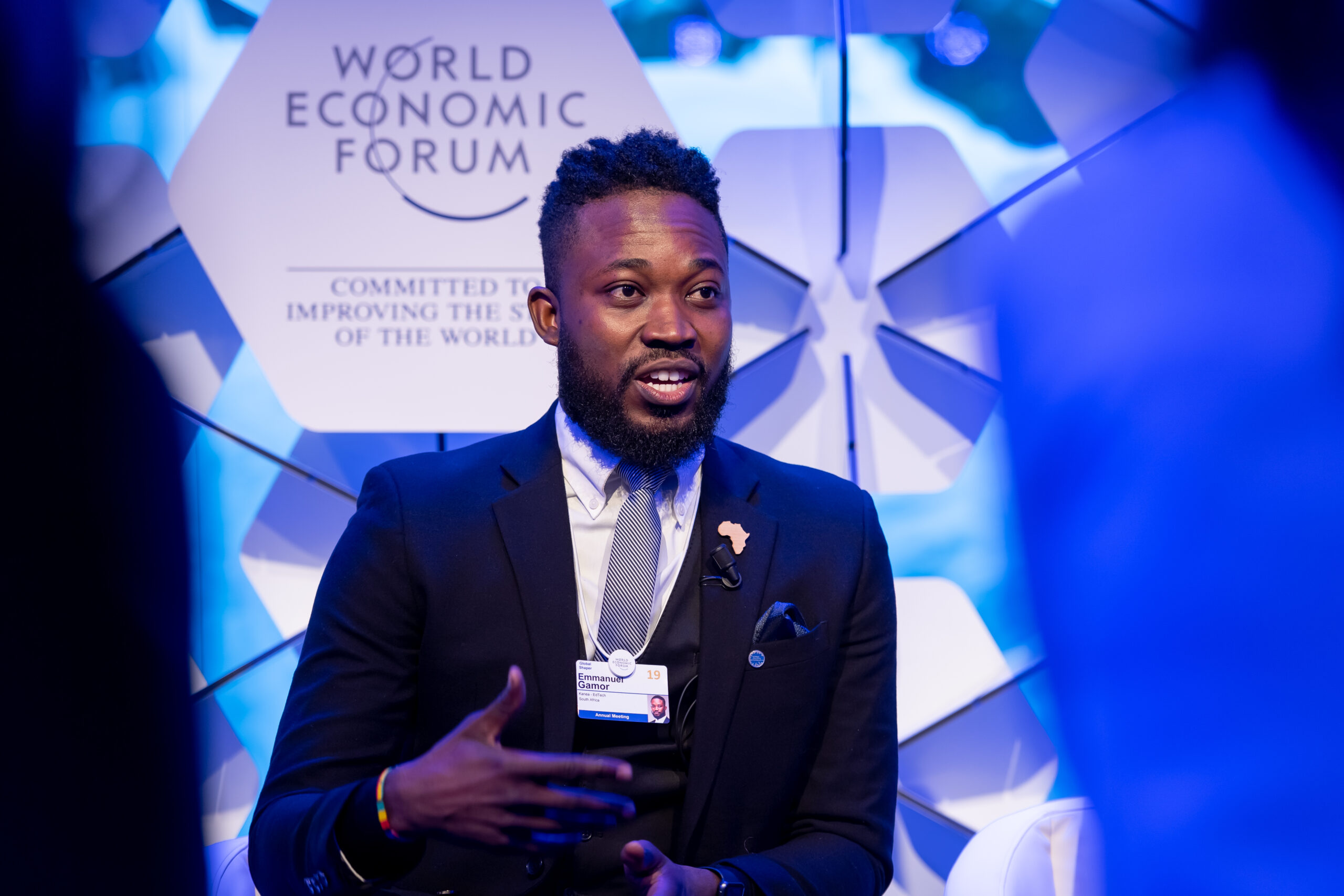 """Emmanuel Gamor, Entrepreneur, Kanea - EdTech, South Africa speaking during the Session """"Last-Mile Learning"""" at the Annual Meeting 2019 of the World Economic Forum in Davos, January 22, 2019.   Congress Centre - Agora.   Copyright by World Economic Forum / Sandra Blaser"""
