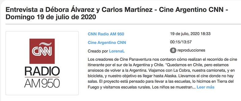 Entrevista a cinema panaventura de cnn radio argentina.