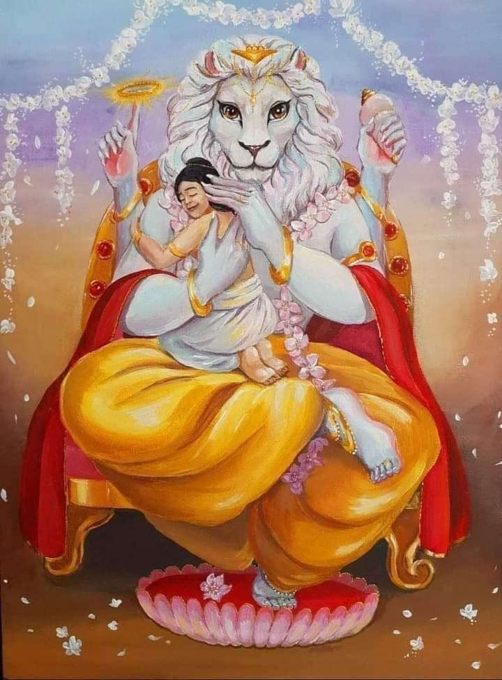 Prahlada prayed to Narasimhadeva to forgive Hiranyakasipu