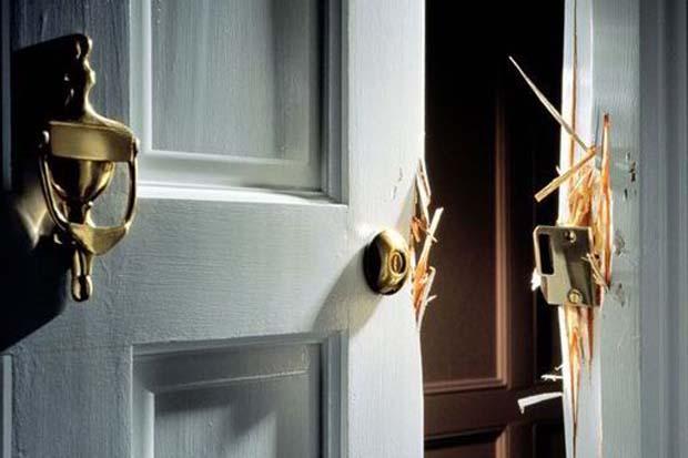 broken door - burgled home