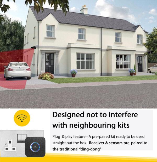 Driveway sensor alarm and shed motion sensor kit operating range