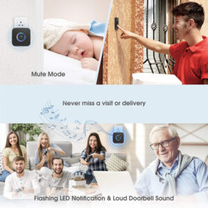 wireless doorbell midnight square sound level and led light