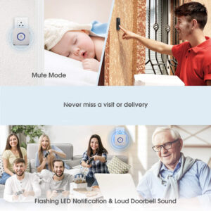 wireless doorbell Arctic square sound level and led light