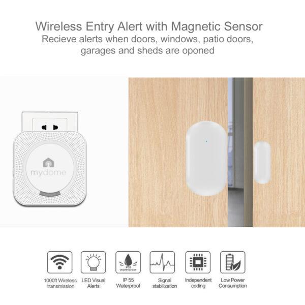 Door sensor mydome home security wireless doorbell