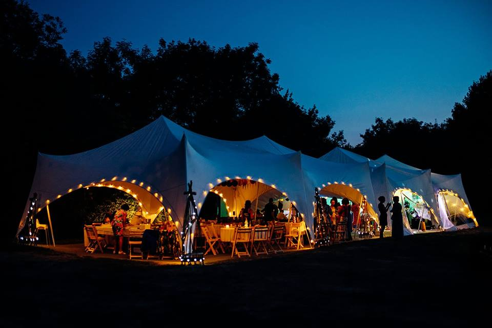 festoon lights in marquee
