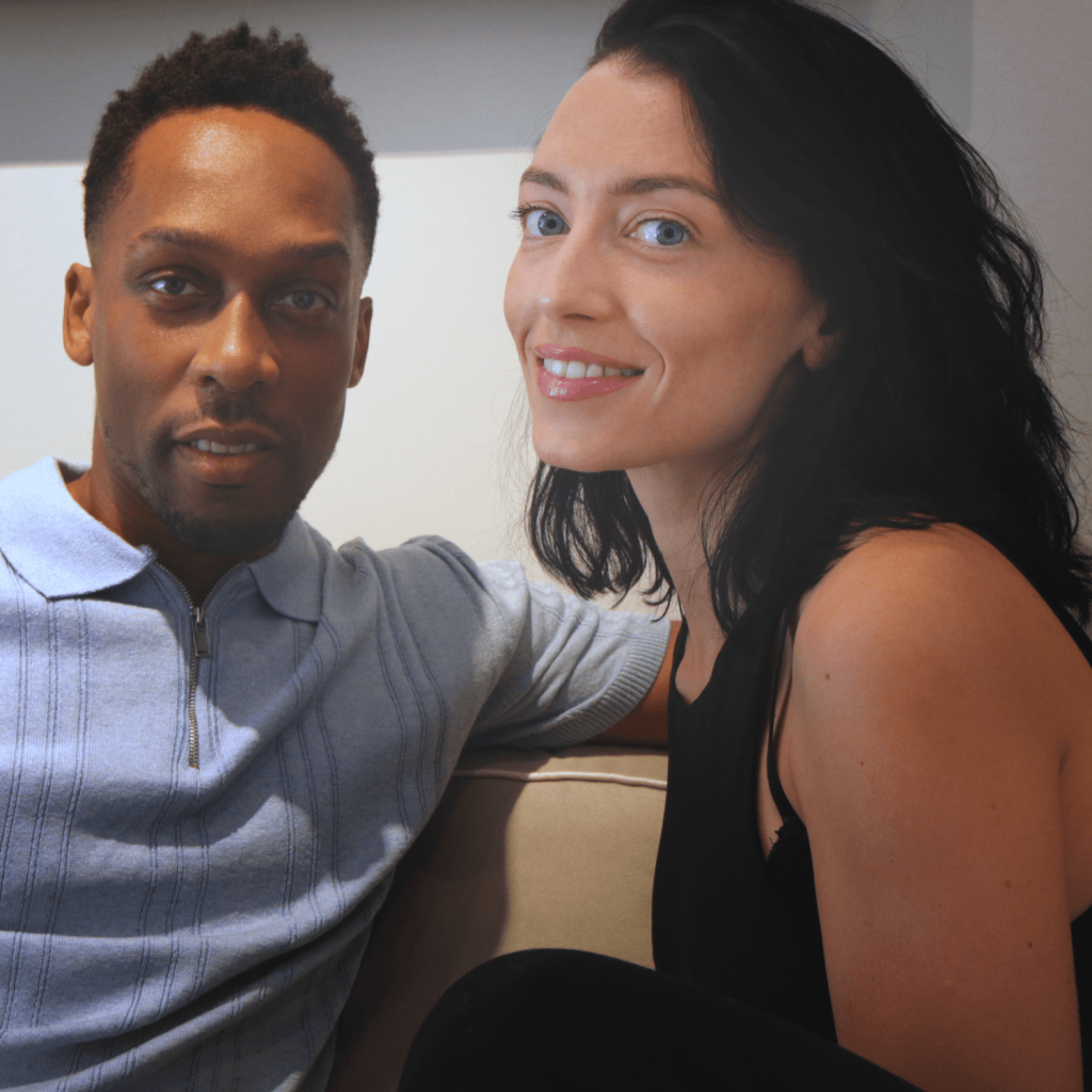 Jessica Agombar poses for a picture with Lemar after telling him about her journey from girl band member to actress and finally finding her dream job as a hit songwriter.