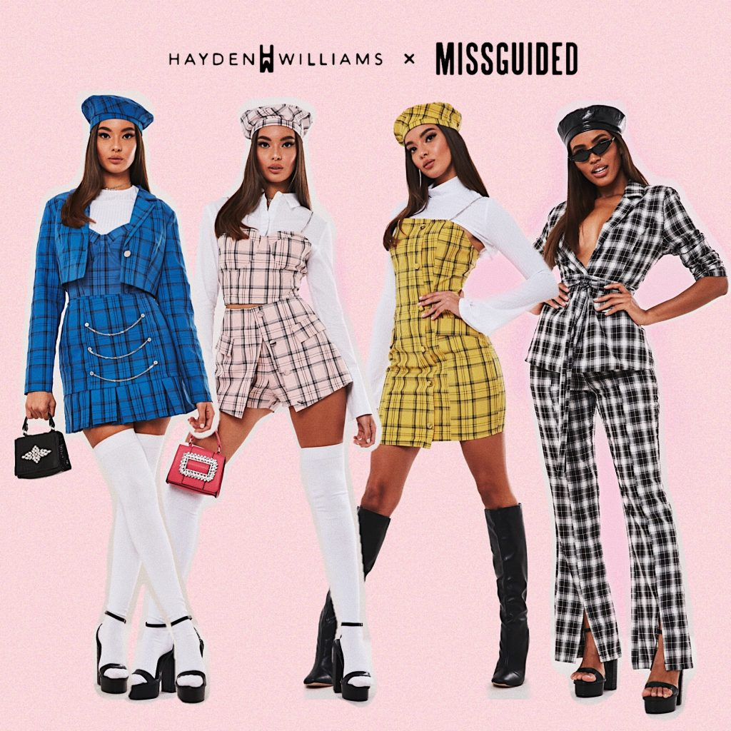 Hayden Williams recently collaborated with the fashion brand Missguided in the UK. This is a picture of a few of his designs worn by various models for the final launch of the line. They are in chequered plaid in (from left to right) blue, pink, yellow and black and white. All models are wearing beret's. All have short skirts apart from far right in long trousers.