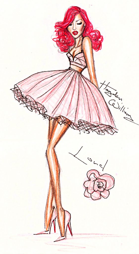 This is the picture that Hayden Williams drew which caught the eye and attention of Rihanna. She is wearing a light pink dress with long red hair and high heels looking down to the left at the floor.
