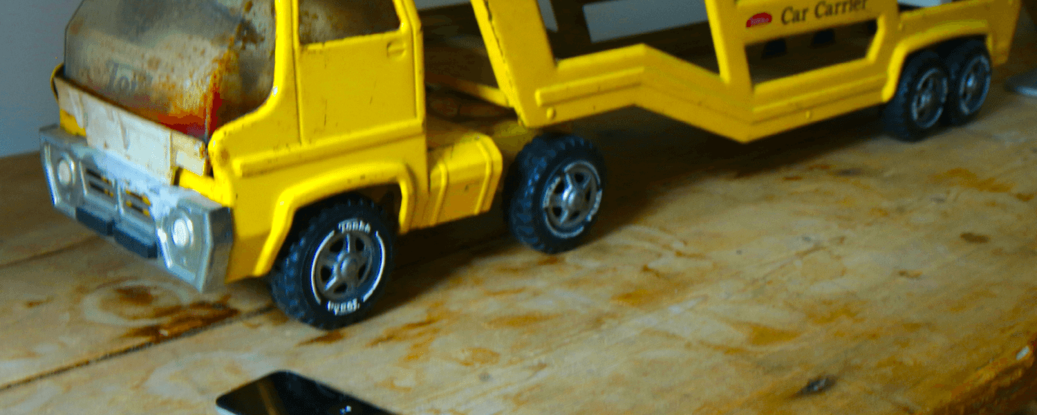 This is a picture of a yellow tonka truck from Harry's younger days when he travelled back and forth to Berlin.
