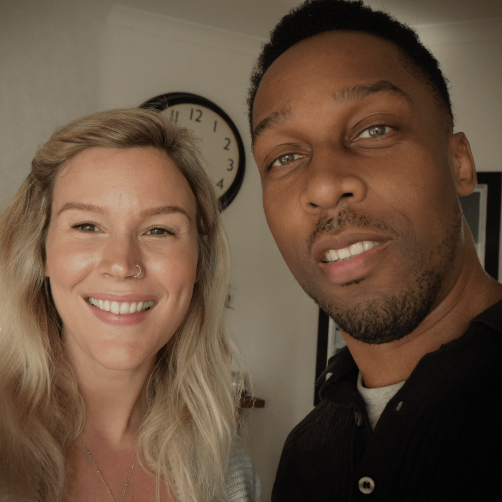 This is a picture of Joss Stone and Lemar smiling to camera before chatting about her new podcast A Cuppa Happy.
