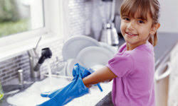 child doing the washing-up