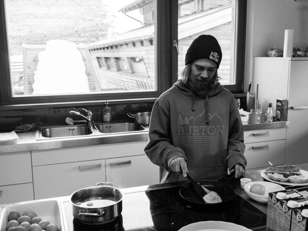 Roope Tonteri on breakfast duty. Photo: Tom Kingsnorth