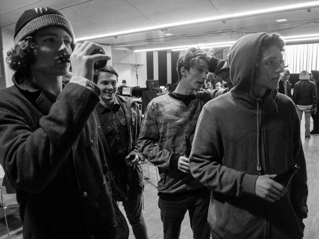 Watching Snowboard flicks, pre prize giving. Photo: Tom Kingsnorth