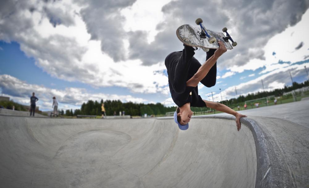 Kalle making noise on his skateboard too. Photo: Jami Holmberg