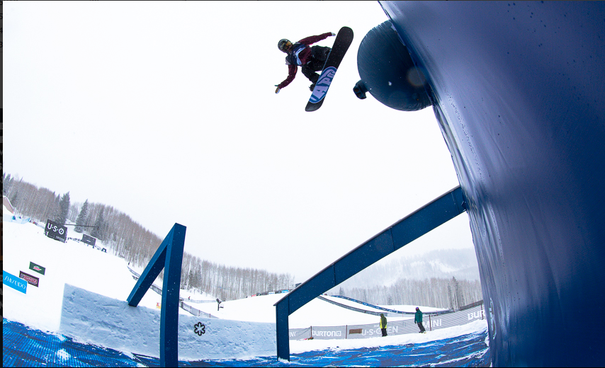 Boosting off the X-Games cannon rail. Photo: Jeff paterson/ WST