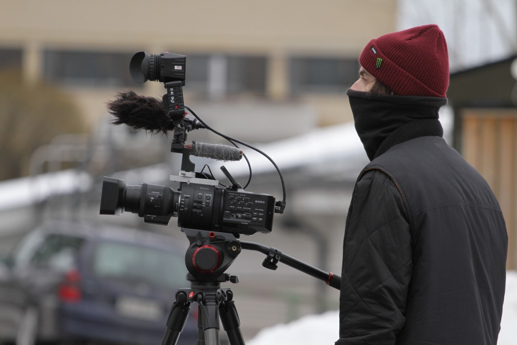 Jamie getting chilly filming for Afterlife.  Photo: Jonny Pickup