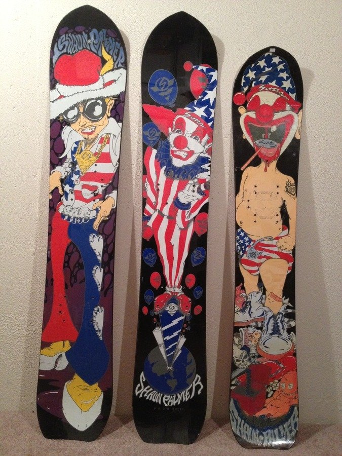 Shaun Palmer played a significant part in snowboarding's uprising and this trio of boards matches his wild personality perfectly.