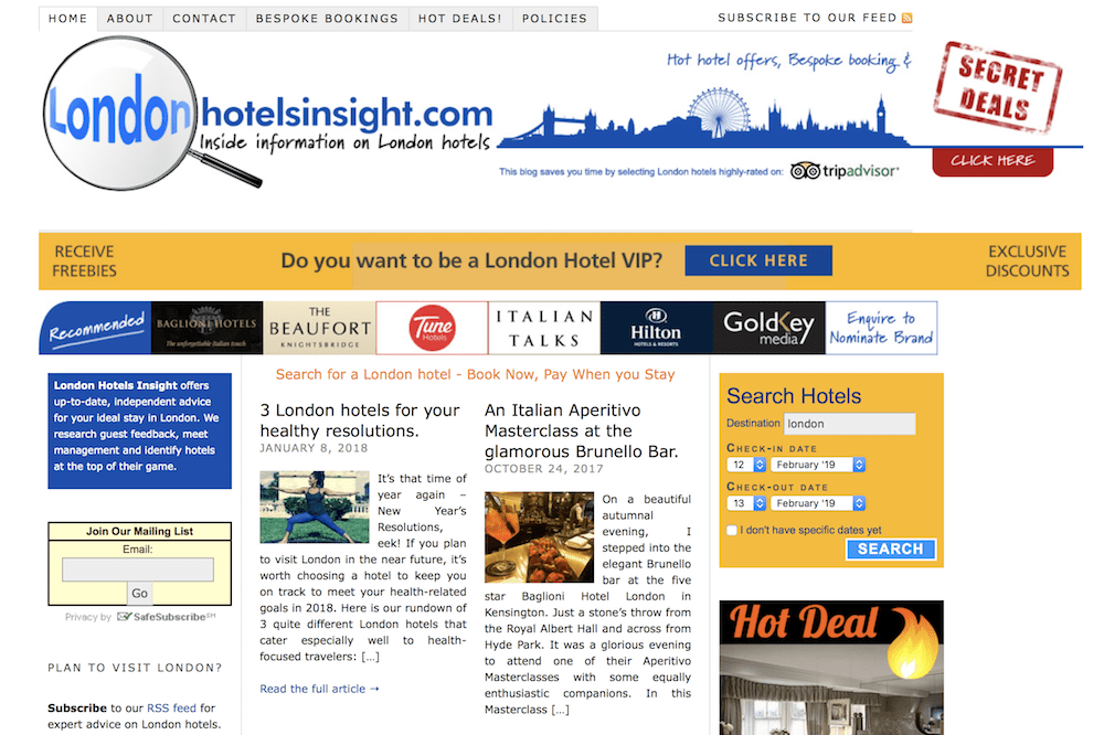 london hotels insight screenshot