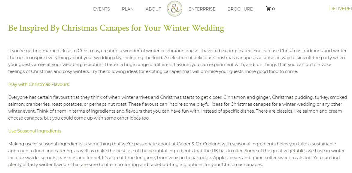 Wedding catering content example