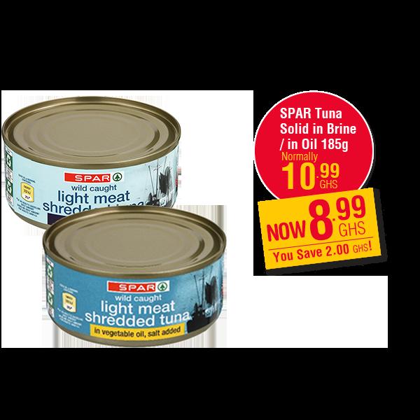 SPAR Tuna  Solid in Brine / in Oil 185g