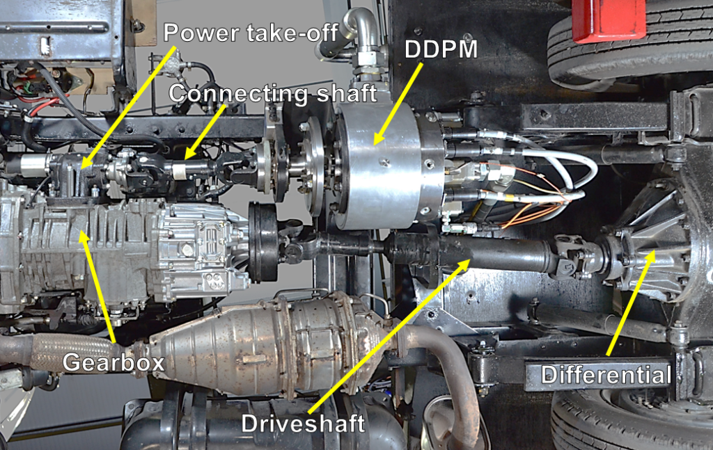A photo of the underside of the converted hybrid truck, showing the power take-off, connecting shaft, DDPM, gearbox, driveshaft and differential.