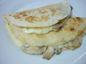 Tortillas rellenas de queso y champiñones - Cocina de Valen