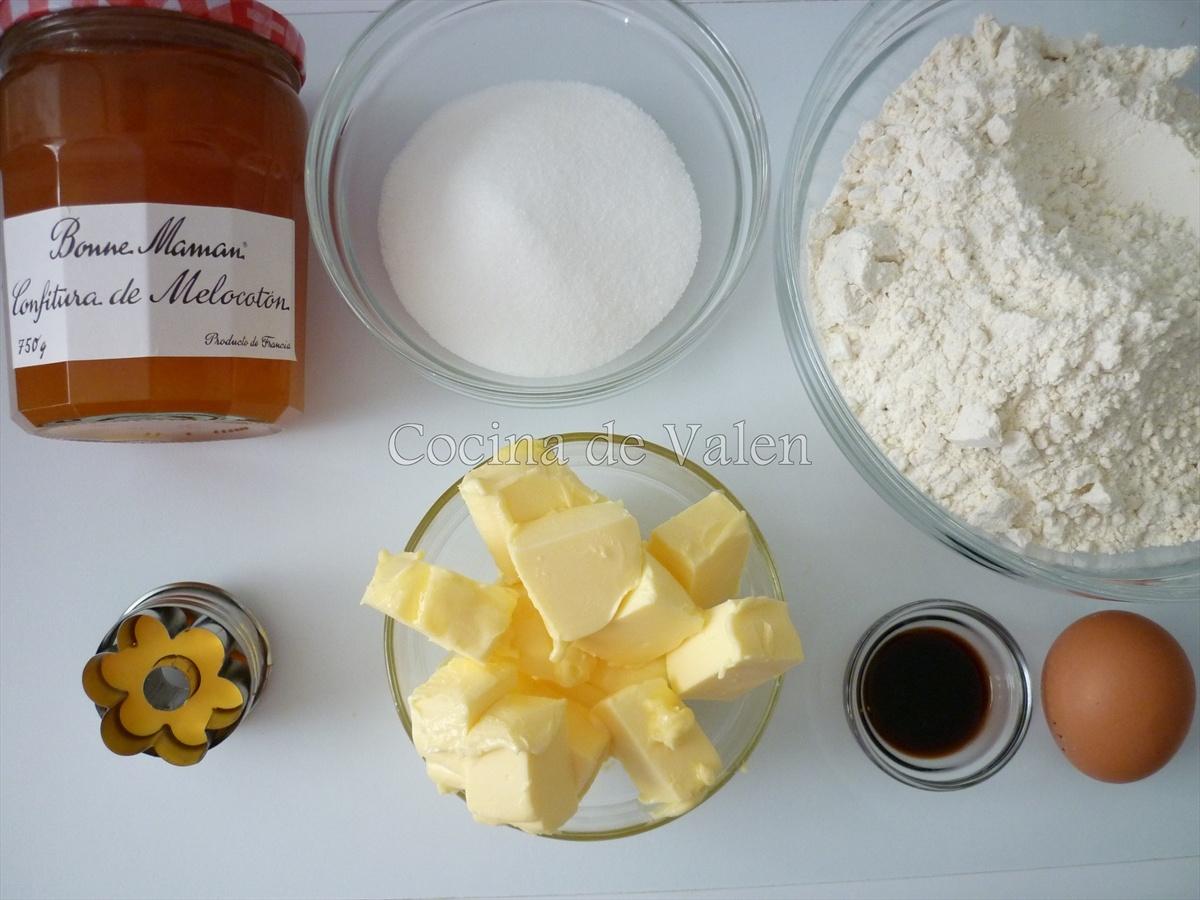 Ingredientes de las galletas rellenas de mermelada - Cocina de Valen