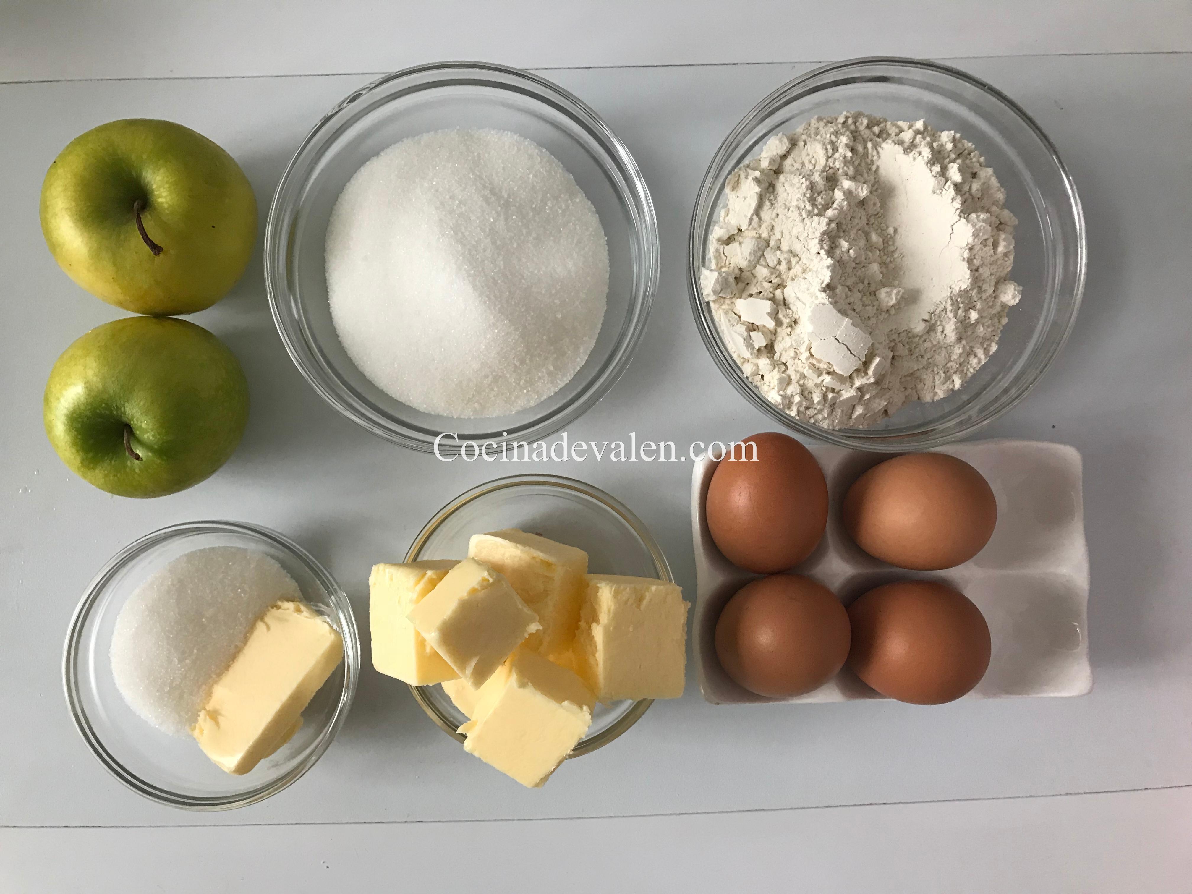 Bizcocho Cuatro cuartos de Manzana - Cocina de Valen