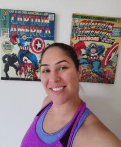 Ceza in front of Captain America posters