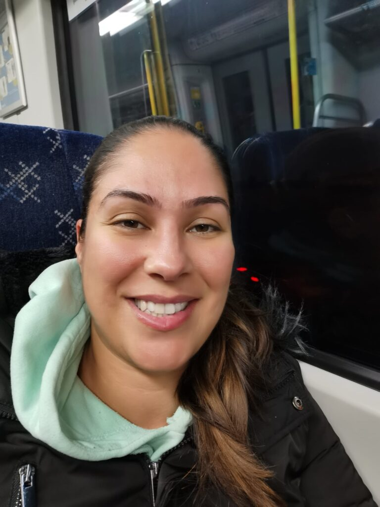 Smiling on the train