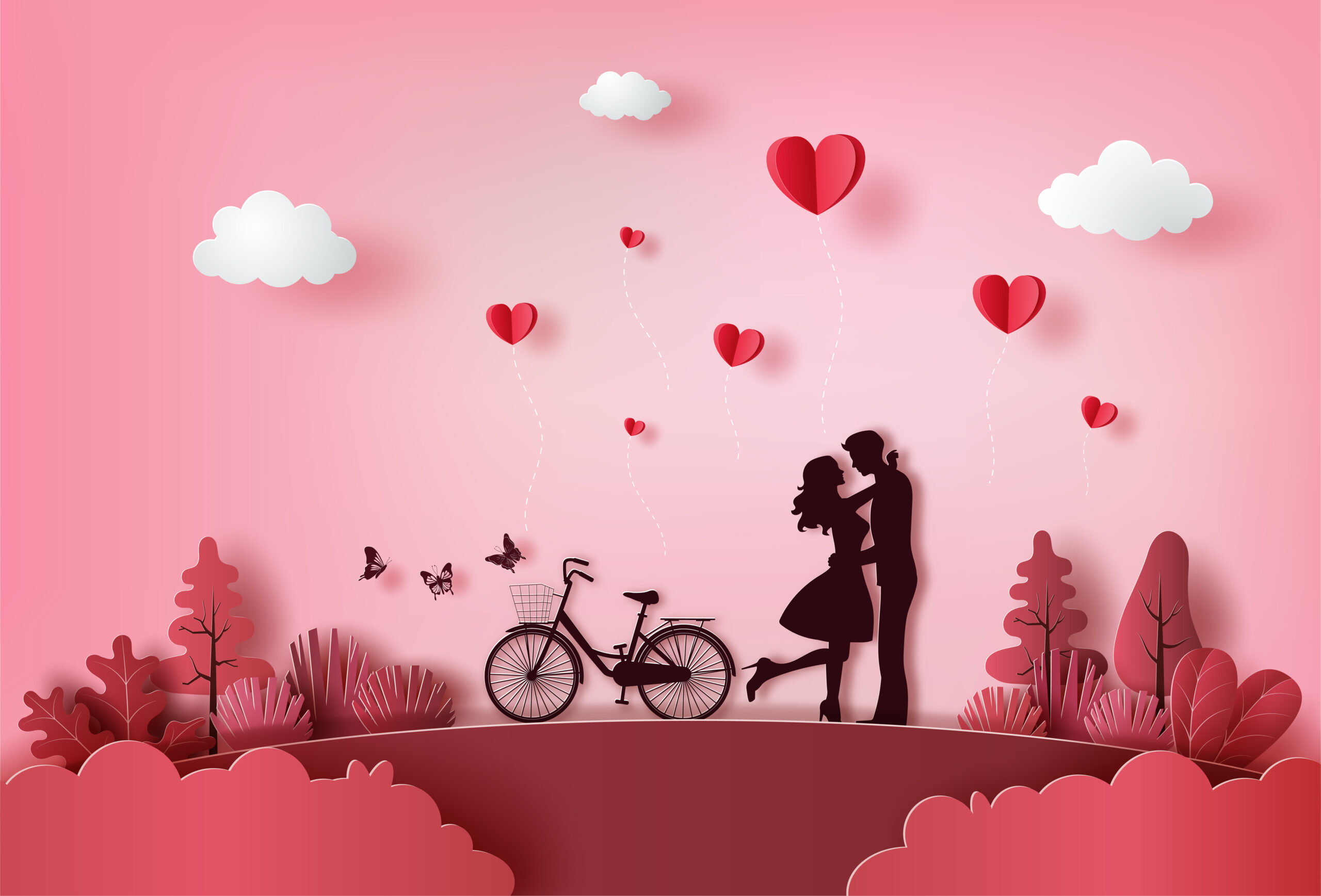 Cute couple in love hugging with many hearts floating.